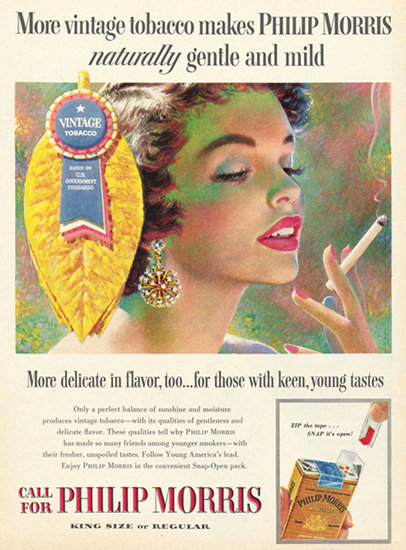 Philip Morris Cigarettes Vintage Tabacco 1955   Sex Appeal Vintage Ads and Covers 1891-1970