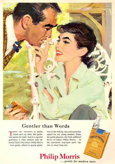Philip Morris Gentler Than Words Cigarettes | Sex Appeal Vintage Ads and Covers 1891-1970
