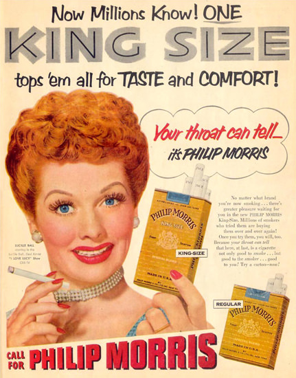 Philip Morris Lucille Bail I Love Lucy CBS 1953 | Sex Appeal Vintage Ads and Covers 1891-1970