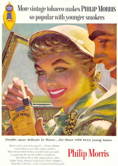 Philip Morris Popular Younger Smokers 1955 | Sex Appeal Vintage Ads and Covers 1891-1970