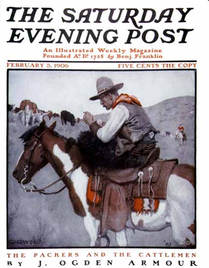Philip R Goodwin Saturday Evening Post Packers N Cattlemen 1906_02_03 | The Saturday Evening Post Graphic Art Covers 1892-1930