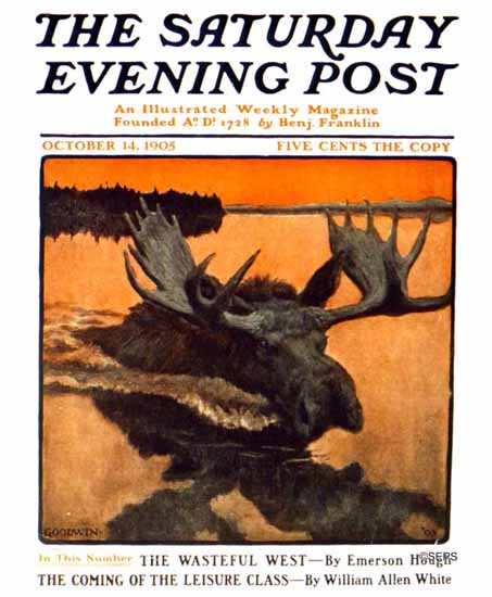 Philip R Goodwin Saturday Evening Post The Moose 1905_10_14 | The Saturday Evening Post Graphic Art Covers 1892-1930