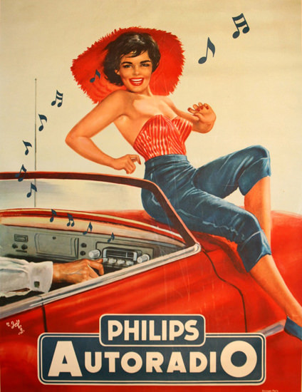 Philips Autoradio Girl On The Hood 1   Sex Appeal Vintage Ads and Covers 1891-1970