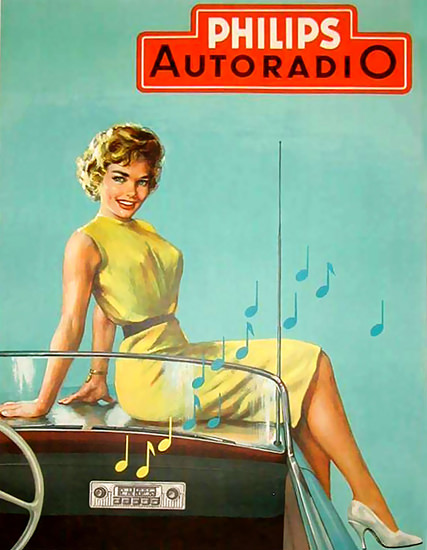 Philips Autoradio Girl On The Hood 2 | Sex Appeal Vintage Ads and Covers 1891-1970