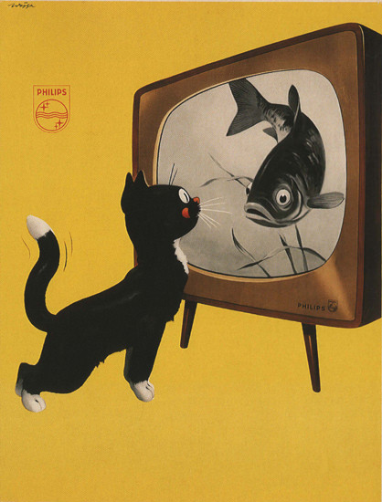 Philips Netherlands Cat And TV Fish | Vintage Ad and Cover Art 1891-1970
