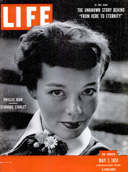 Phillis Kirk Starlet 7 May 1951 Copyright Life Magazine | Life Magazine BW Photo Covers 1936-1970