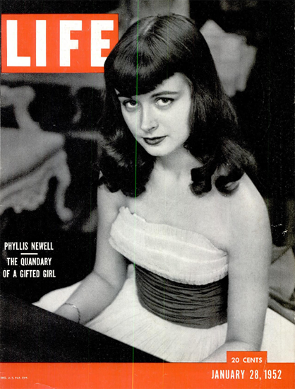 Phyllis Newell Quandary gifted Girl 28 Jan 1952 Copyright Life Magazine   Life Magazine BW Photo Covers 1936-1970