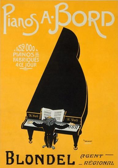 Pianos A Bord Grand Piano P F Grignon | Vintage Ad and Cover Art 1891-1970