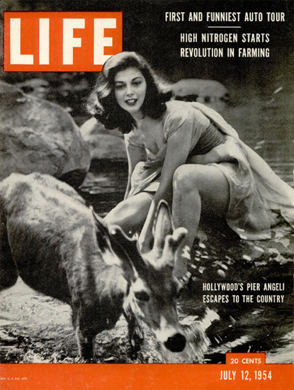 Pier Angeli escapes to the Country 12 Jul 1954 Copyright Life Magazine | Life Magazine BW Photo Covers 1936-1970