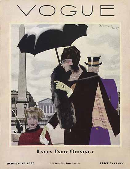 Pierre Mourgue Vogue Cover 1927-10-01 Copyright   Vogue Magazine Graphic Art Covers 1902-1958