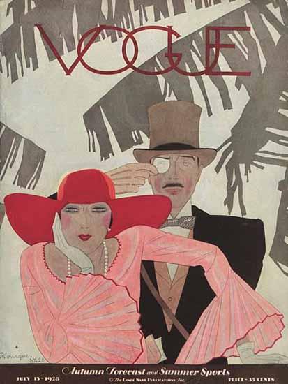Pierre Mourgue Vogue Cover 1928-07-15 Copyright | Vogue Magazine Graphic Art Covers 1902-1958