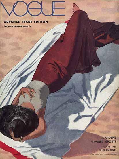 Pierre Mourgue Vogue Cover 1933-07-15 Copyright   Vogue Magazine Graphic Art Covers 1902-1958
