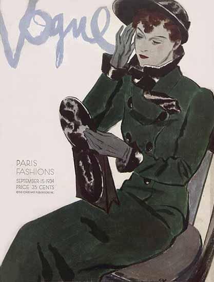 Pierre Mourgue Vogue Cover 1934-09-15 Copyright | Vogue Magazine Graphic Art Covers 1902-1958