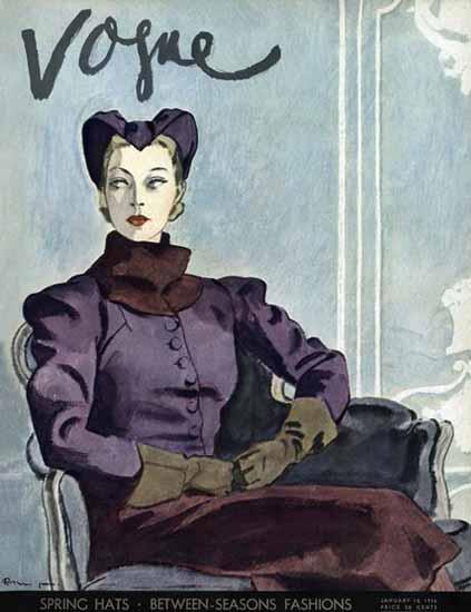 Pierre Mourgue Vogue Cover 1936-01-15 Copyright | Vogue Magazine Graphic Art Covers 1902-1958