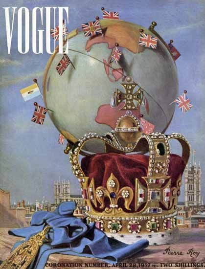 Pierre Roy Coronation Number 1937-04-28 Copyright | Vogue Magazine Graphic Art Covers 1902-1958