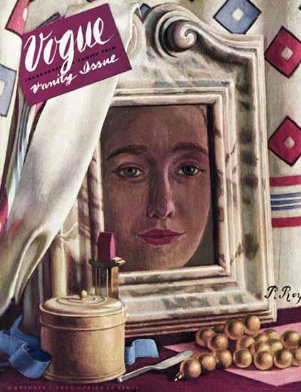 Pierre Roy Vogue Cover 1938-11-01 Copyright | Vogue Magazine Graphic Art Covers 1902-1958