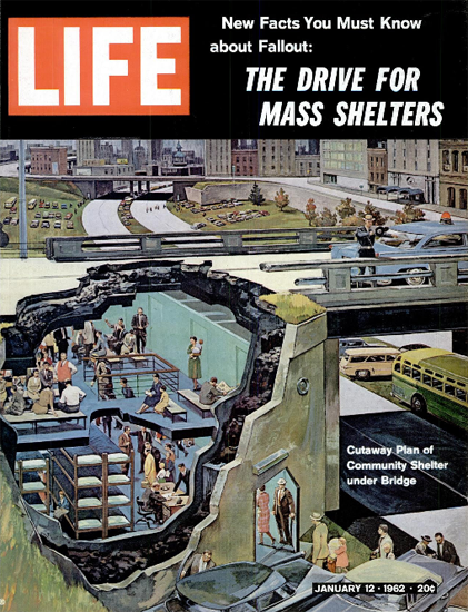Plan of Community Nuclear Shelter 12 Jan 1962 Copyright Life Magazine | Life Magazine Color Photo Covers 1937-1970