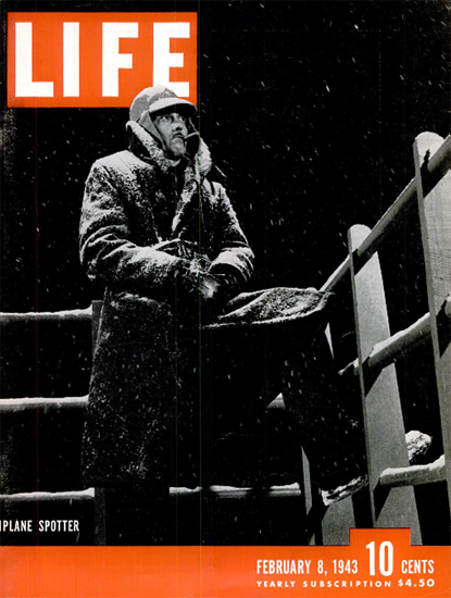 Plane Spotter 8 Feb 1943 Copyright Life Magazine | Life Magazine BW Photo Covers 1936-1970
