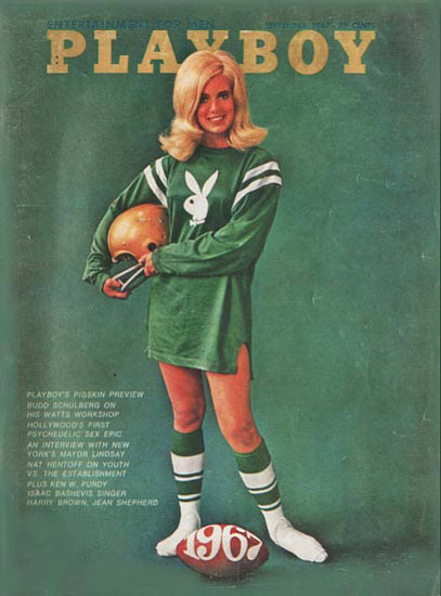Bo Bussmann Playboy Cover Copyright 1967 Football Girl | Sex Appeal Vintage Ads and Covers 1891-1970