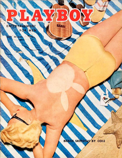 Janet Pilgrim Playboy Cover Copyright 1955 Beach Sketches By Cole | Sex Appeal Vintage Ads and Covers 1891-1970