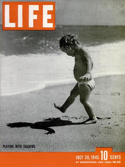 Playing with Shadows 30 Jul 1945 Copyright Life Magazine   Life Magazine BW Photo Covers 1936-1970