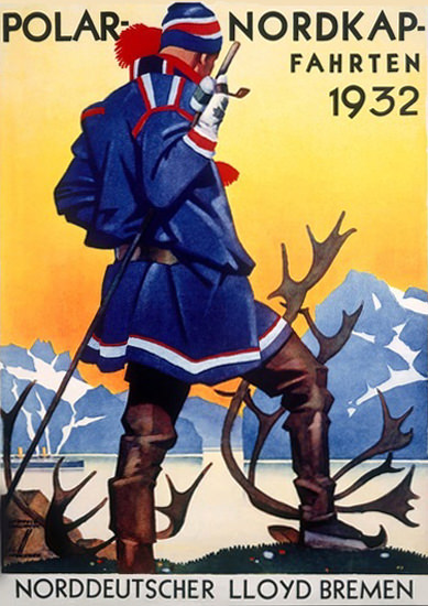 Polar-Nordkap-Fahrten 1932 N-Deutscher Lloyd | Vintage Travel Posters 1891-1970