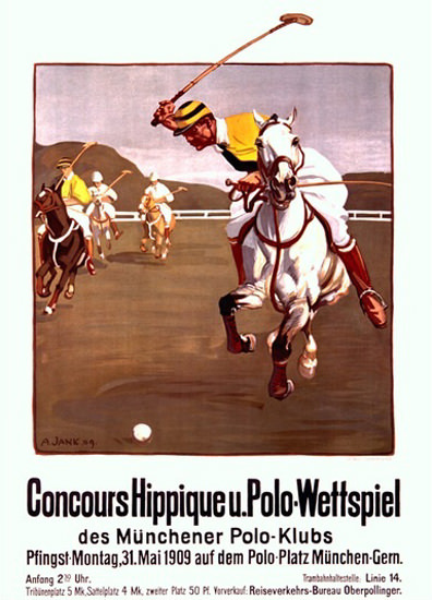 Polo Wettspiel Muenchen 1909 Polo Game Jank | Vintage Ad and Cover Art 1891-1970