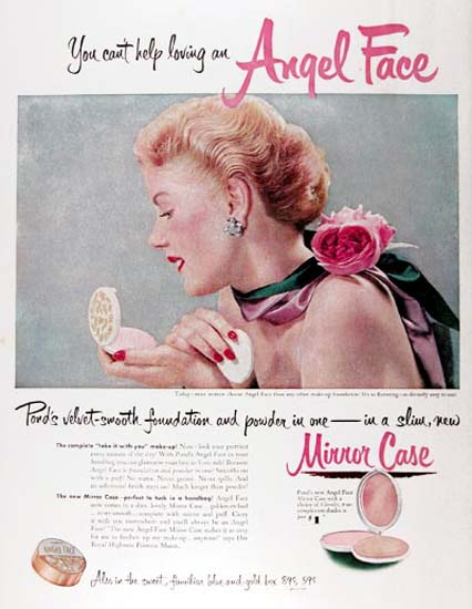 Ponds Angel Face 1951 Slim Mirror Case | Sex Appeal Vintage Ads and Covers 1891-1970