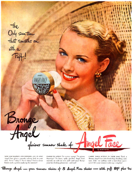 Ponds Angel Face Bronze Angel 1949 | Sex Appeal Vintage Ads and Covers 1891-1970