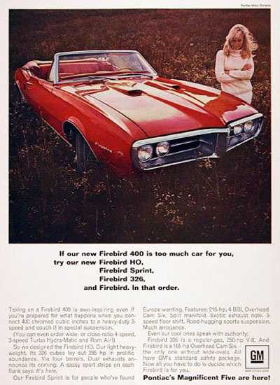 Pontiac Firebird Convertible 1967 Firebird 400 Red | Sex Appeal Vintage Ads and Covers 1891-1970