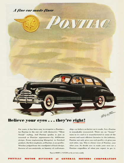 Pontiac Streamliner 4 Door Sedan 1947 | Vintage Cars 1891-1970