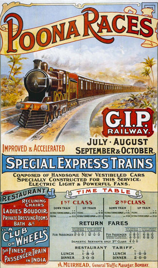 Poona Races Special Express Trains Club Bombay | Vintage Travel Posters 1891-1970
