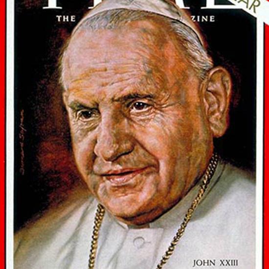 Pope John XXIII Time Magazine 1963-01 by Bernard Safran crop | Best of Vintage Cover Art 1900-1970