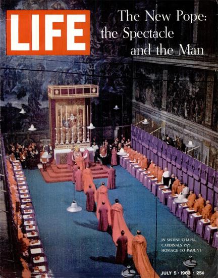Pope Paul VI Inauguration in Rome 5 Jul 1963 Copyright Life Magazine | Life Magazine Color Photo Covers 1937-1970