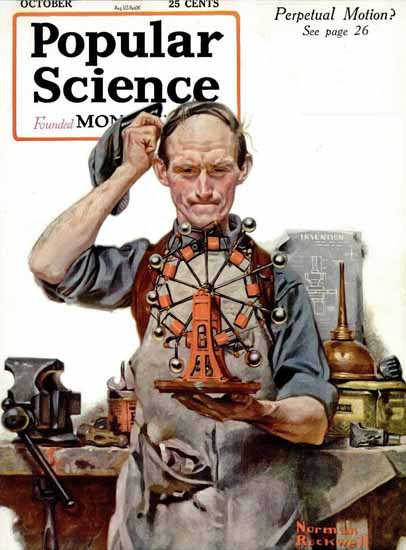 Popular Science Perpetual Motion Norman Rockwell   400 Norman Rockwell Magazine Covers 1913-1963
