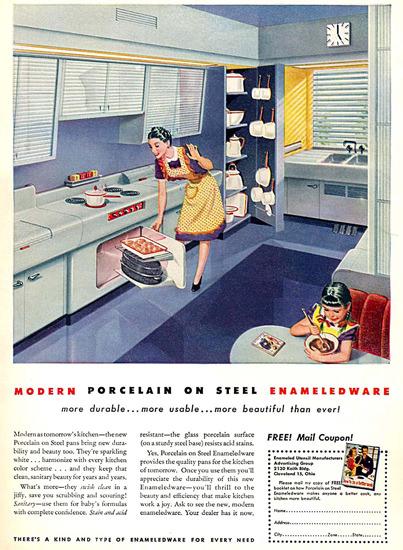 Porcelain On Steel Enameled Kitchen   Vintage Ad and Cover Art 1891-1970
