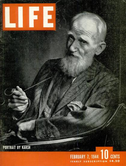 Portrait by Karsh 7 Feb 1944 Copyright Life Magazine   Life Magazine BW Photo Covers 1936-1970