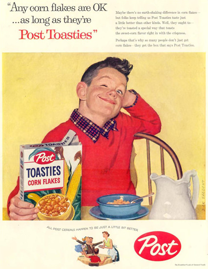 Post Toasties Boy At Breakfast 1957 | Vintage Ad and Cover Art 1891-1970