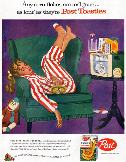 Post Toasties Sleeping TV Girl 1957 | Vintage Ad and Cover Art 1891-1970
