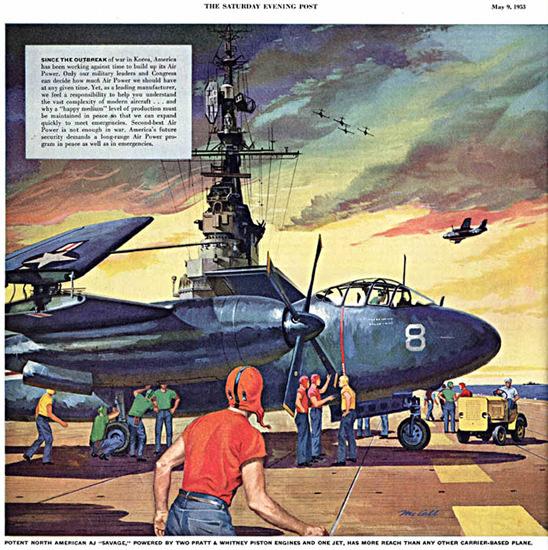 Potent North American AJ Savage 1953 Korea | Vintage War Propaganda Posters 1891-1970