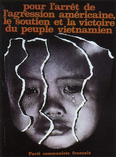 Pour L Arret De L Agression Americaine Stop USA   Vintage War Propaganda Posters 1891-1970