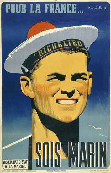 Pour La France Sois Marin 1942   Vintage War Propaganda Posters 1891-1970