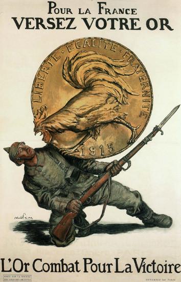 Pour La France Verse Votre Ore 1915 Your Gold | Vintage War Propaganda Posters 1891-1970