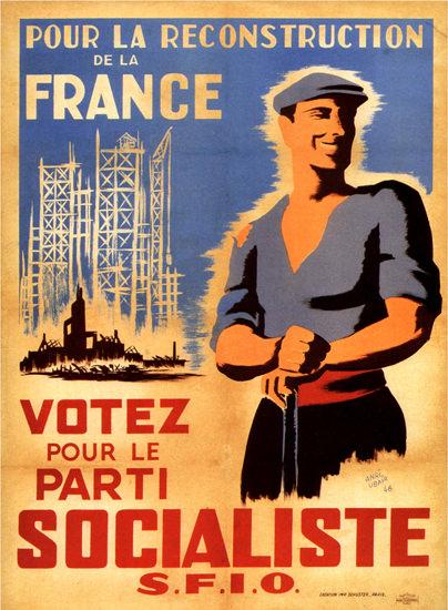 Pour La Reconstruction Socialiste France 1946 | Vintage Ad and Cover Art 1891-1970
