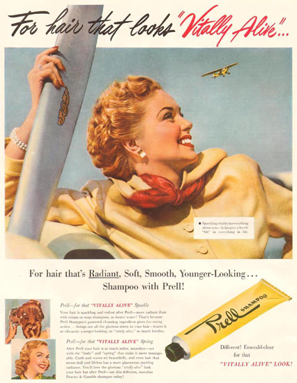 Prell Shampoo Vitally Alive 1950 | Sex Appeal Vintage Ads and Covers 1891-1970