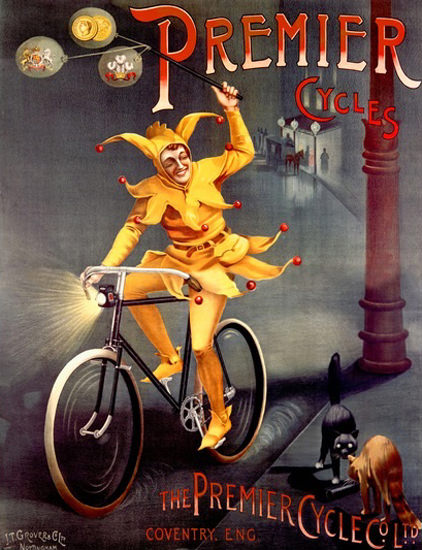 Premier Cycles Coventry England Harlequin Cats | Vintage Travel Posters 1891-1970