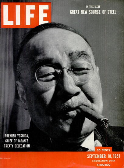 Premier Shigeru Yoshida Japan 10 Sep 1951 Copyright Life Magazine | Life Magazine BW Photo Covers 1936-1970