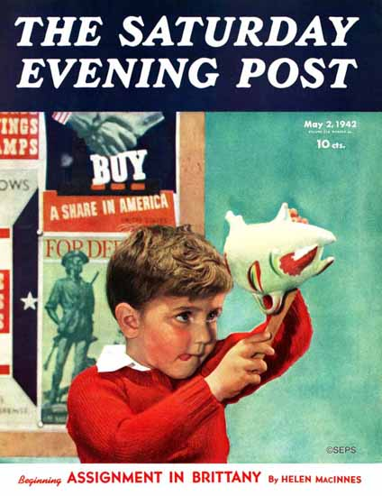 Preston Duncan Saturday Evening Post Saving for War Bonds 1942_05_02 | The Saturday Evening Post Graphic Art Covers 1931-1969