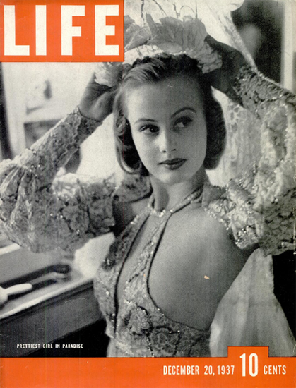 Prettiest Girl in Paradise 20 Dec 1937 Copyright Life Magazine | Life Magazine BW Photo Covers 1936-1970
