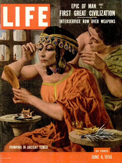 Primping in ancient Sumer 4 Jun 1956 Copyright Life Magazine | Life Magazine Color Photo Covers 1937-1970